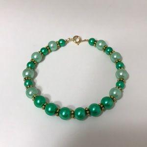Handmade light and dark green and gold bracelet